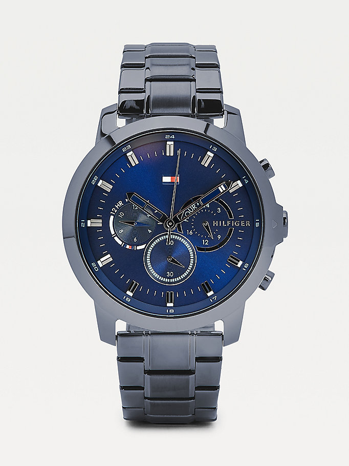 grey multifunction gunmetal chain-link watch for men tommy hilfiger