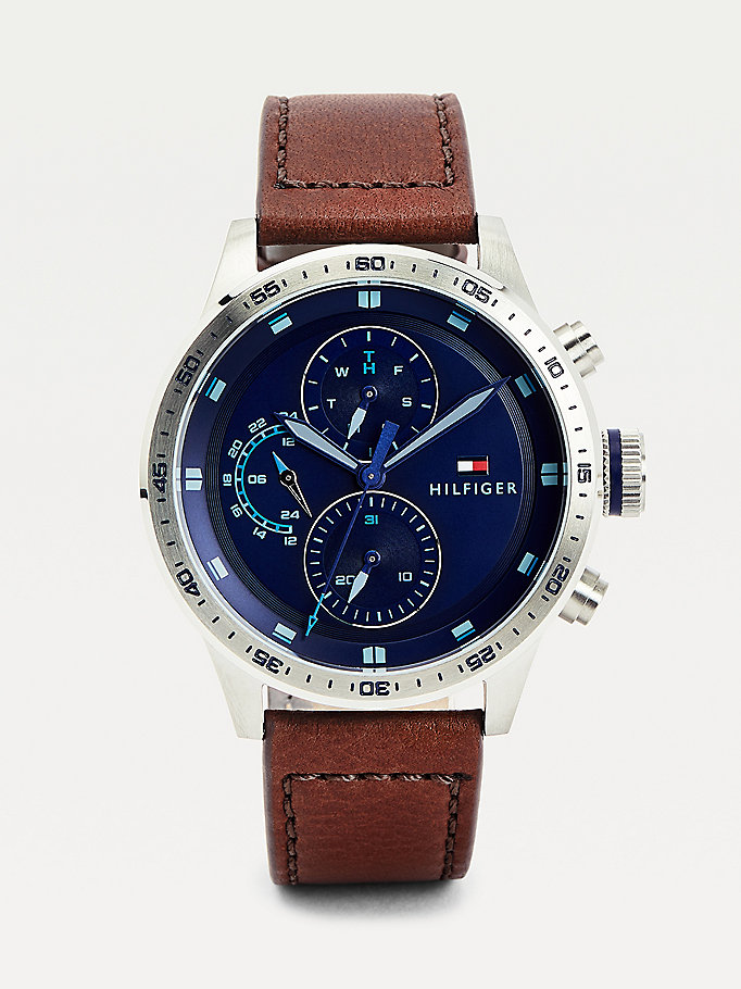 brown multi-function stainless steel leather strap watch for men tommy hilfiger