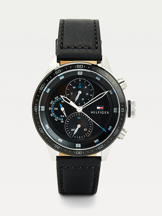 black multi-function black leather strap watch for men tommy hilfiger