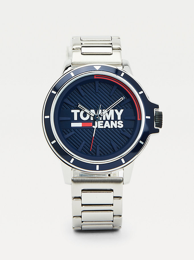 silver stainless steel chain-link watch for men tommy jeans