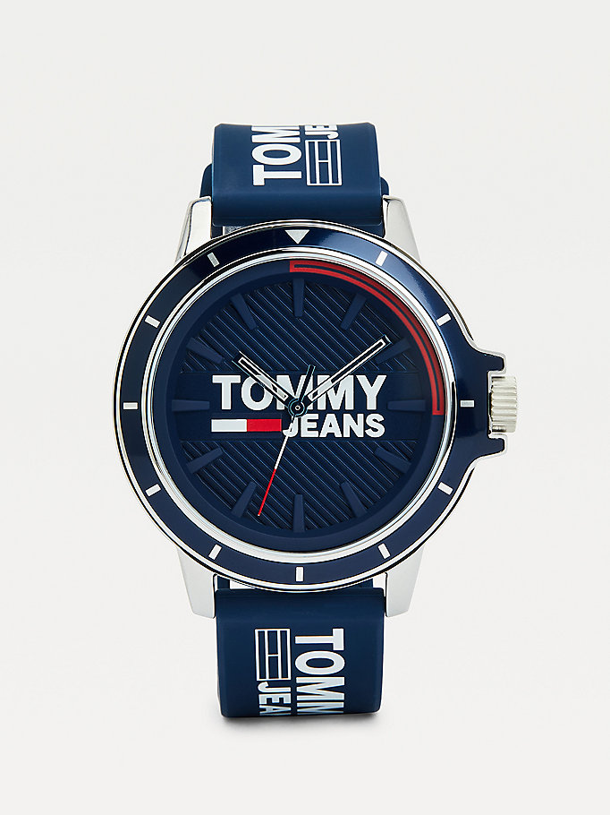 blue blue silicone strap watch for men tommy jeans