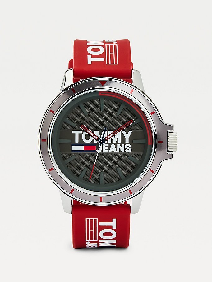 red red silicone strap watch for men tommy jeans