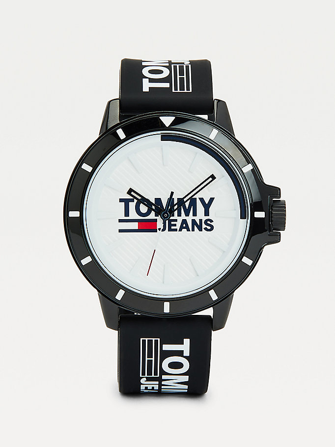 black black silicone strap watch for men tommy jeans