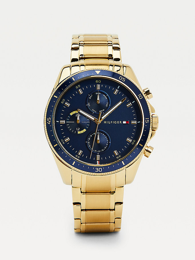 gold yellow gold-plated chain-link watch for men tommy hilfiger