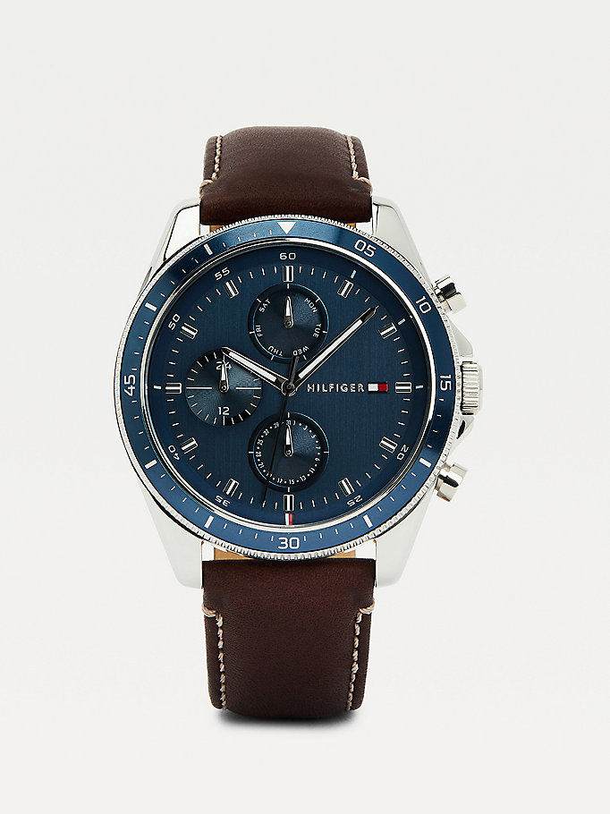 brown brown leather contrast bezel watch for men tommy hilfiger