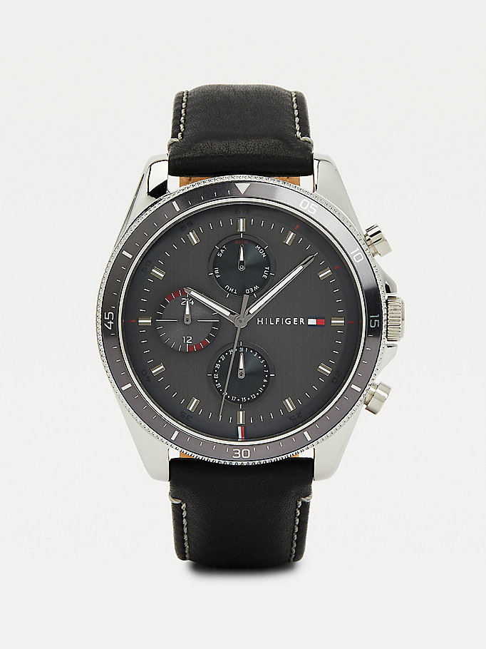 black black leather strap watch for men tommy hilfiger