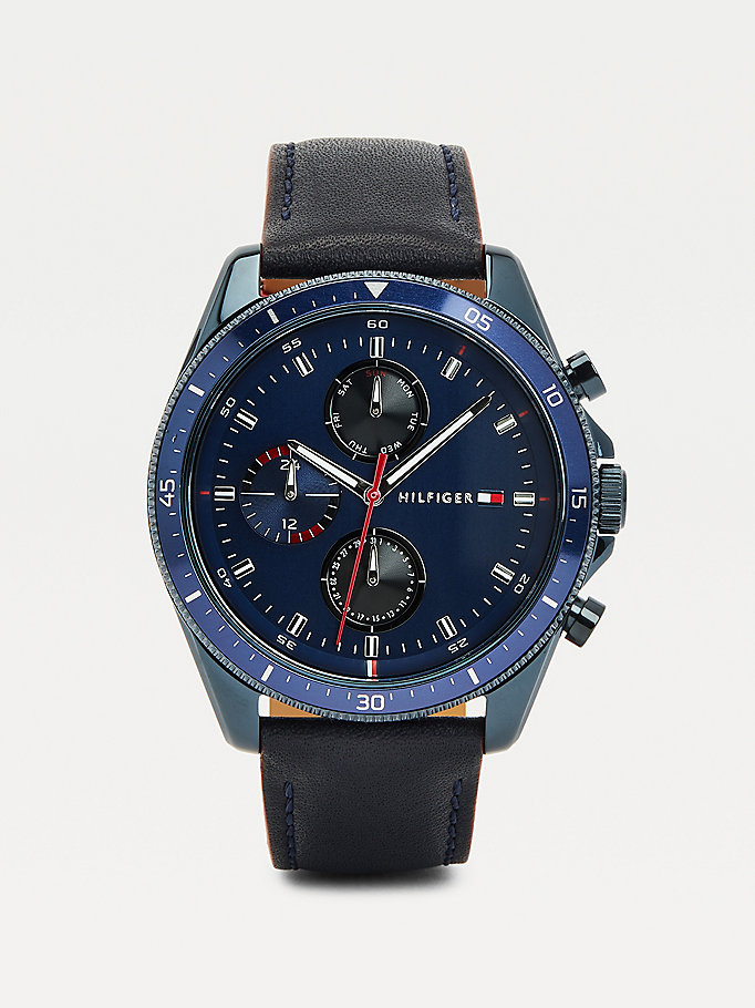 orologio placcato a ioni in pelle color blu blu da men tommy hilfiger