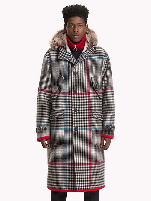 HILFIGER COLLECTION Long manteau à capuche à carreaux - BARBADOS CHERRY - HILFIGER COLLECTION TOMMY NOW HOMMES - image principale