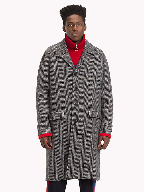 HILFIGER COLLECTION Herringbone Single-breasted Coat - SILVER FOG HEATHER - HILFIGER COLLECTION TOMMY NOW MEN - main image