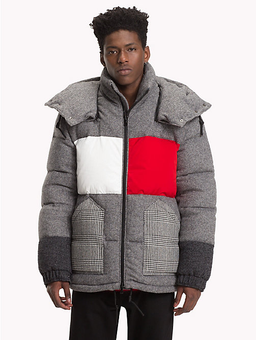 HILFIGER COLLECTION Flag Patchwork Down Jacket - SILVER FOG HEATHER - HILFIGER COLLECTION TOMMY NOW MEN - main image