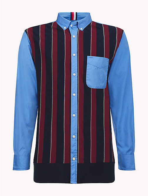 HILFIGER COLLECTION Striped Knit Front Shirt - REGATTA / CABERNET / MULTI -  TOMMY NOW MEN - detail image 1