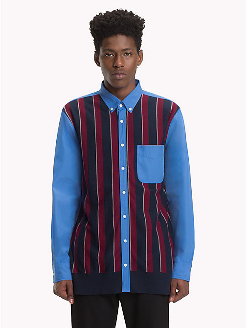 HILFIGER COLLECTION Striped Knit Front Shirt - REGATTA / CABERNET / MULTI -  TOMMY NOW MEN - main image