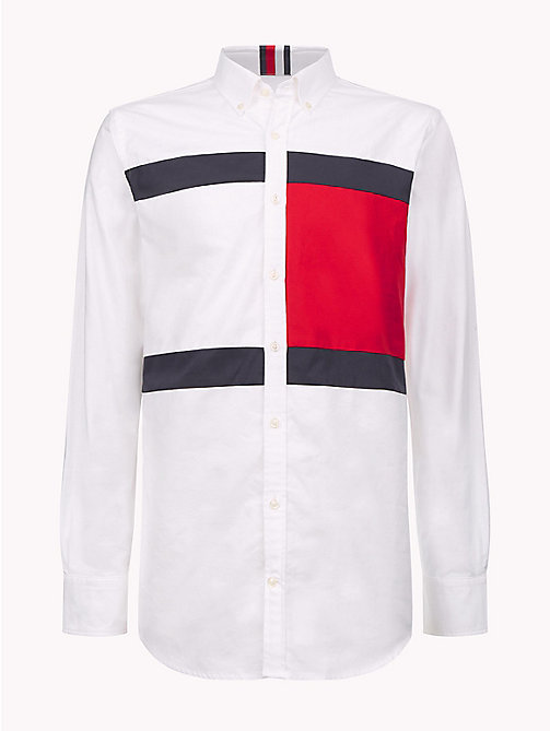 HILFIGER COLLECTION Flag Oxford Cotton Shirt - BW / BARBADOS CHERRY / SKY CAPTAIN - HILFIGER COLLECTION Hilfiger Collection - detail image 1