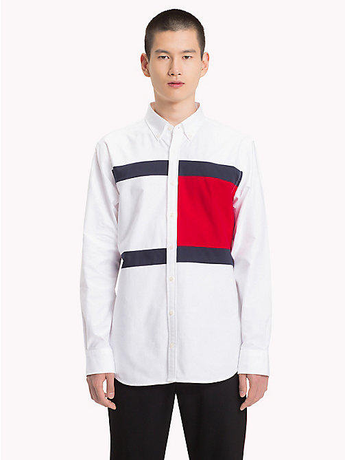 HILFIGER COLLECTION Flag Oxford Cotton Shirt - BW / BARBADOS CHERRY / SKY CAPTAIN - HILFIGER COLLECTION Hilfiger Collection - main image