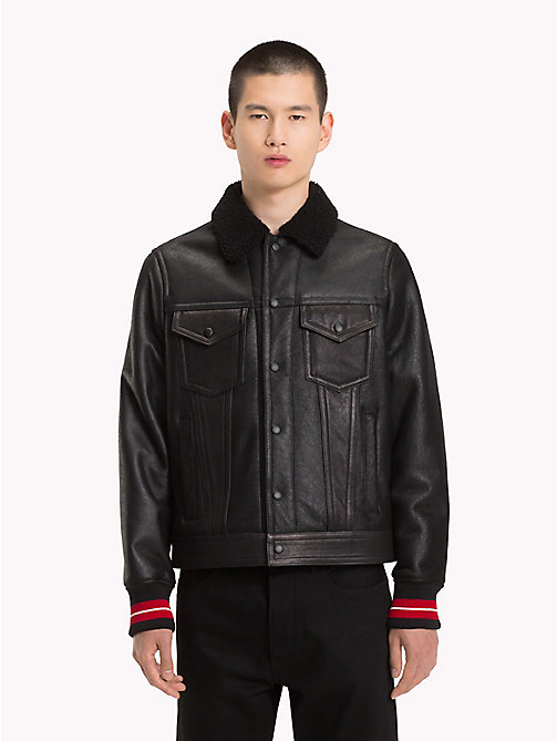 HILFIGER COLLECTION Shearling Leather Trucker Jacket - JET BLACK - HILFIGER COLLECTION Hilfiger Collection - main image