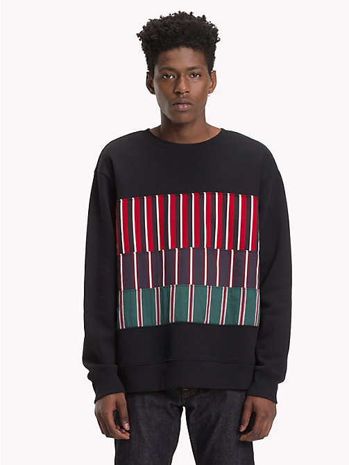 HILFIGER COLLECTION Sweatshirt à empiècement rayé - JET BLACK - HILFIGER COLLECTION TOMMY NOW HOMMES - image principale
