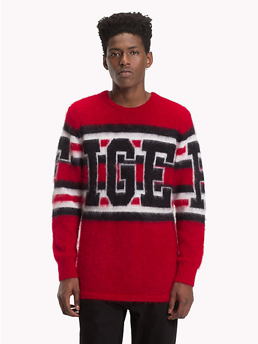 HILFIGER COLLECTION Pullover in lana mohair con logo - BARBADOS CHERRY - HILFIGER COLLECTION TOMMY NOW UOMO - immagine principale