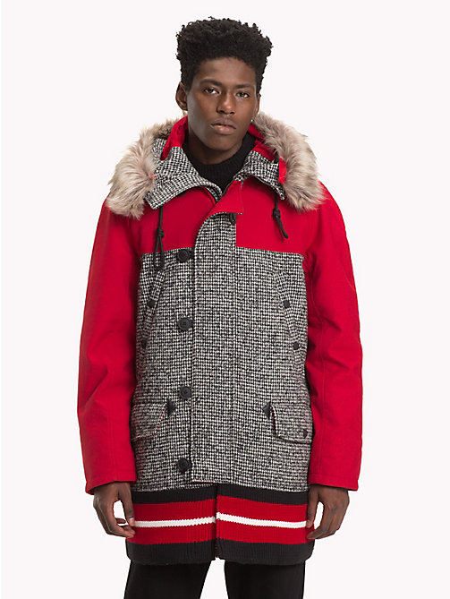 HILFIGER COLLECTION Colour-Blocked Hooded Coat - SILVER FOG HEATHER - HILFIGER COLLECTION TOMMY NOW MEN - main image