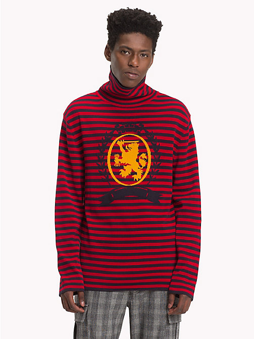 HILFIGER COLLECTION Stripe Turtleneck Jumper - BARBADOS CHERRY -  TOMMY NOW MEN - main image