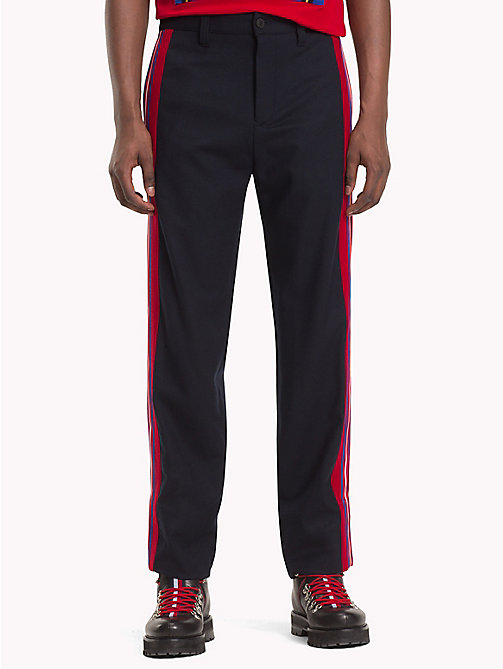 HILFIGER COLLECTION Wollen broek met contraststreep - DEEP WELL - HILFIGER COLLECTION TOMMY NOW HEREN - main image
