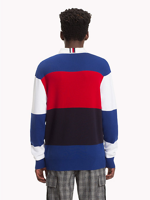 HILFIGER COLLECTION Rugby Stripe Jumper - BRIGHT WHITE / SODALITE BLUE -  TOMMY NOW MEN - detail image 1
