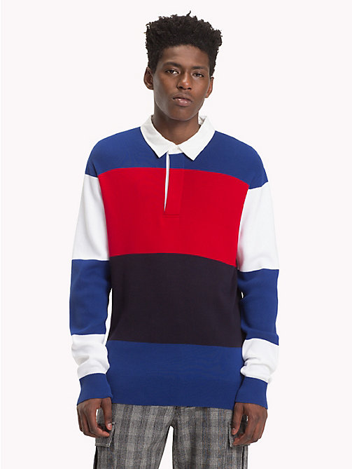 HILFIGER COLLECTION Katoenen sweatshirt met rugbystrepen - BRIGHT WHITE / SODALITE BLUE - HILFIGER COLLECTION TOMMY NOW HEREN - main image