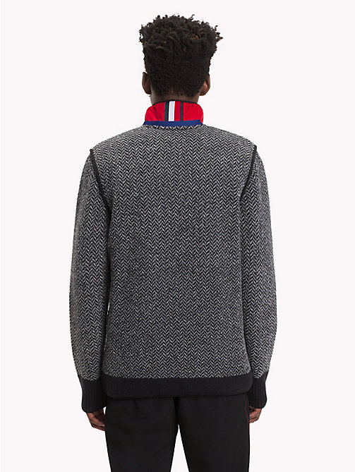 HILFIGER COLLECTION Contrast Patch Cardigan - JET BLACK / SILVER FILIGREE - HILFIGER COLLECTION TOMMY NOW MEN - detail image 1