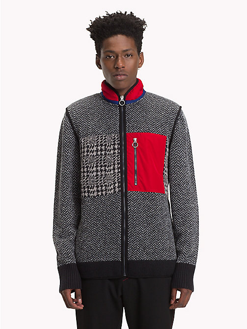 HILFIGER COLLECTION Contrast Patch Cardigan - JET BLACK / SILVER FILIGREE - HILFIGER COLLECTION TOMMY NOW MEN - main image