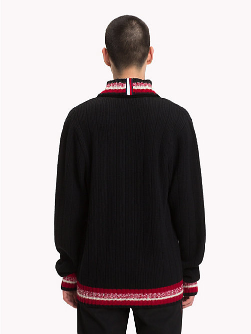 HILFIGER COLLECTION Pullover stile cricket con scollo a V - JET BLACK - HILFIGER COLLECTION Hilfiger Collection - dettaglio immagine 1