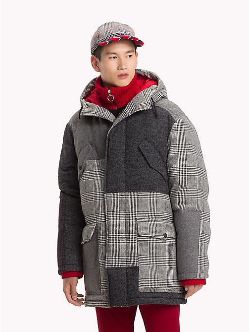 HILFIGER COLLECTION Manteau patchwork à capuche - SILVER FOG HEATHER - HILFIGER COLLECTION TOMMY NOW HOMMES - image principale
