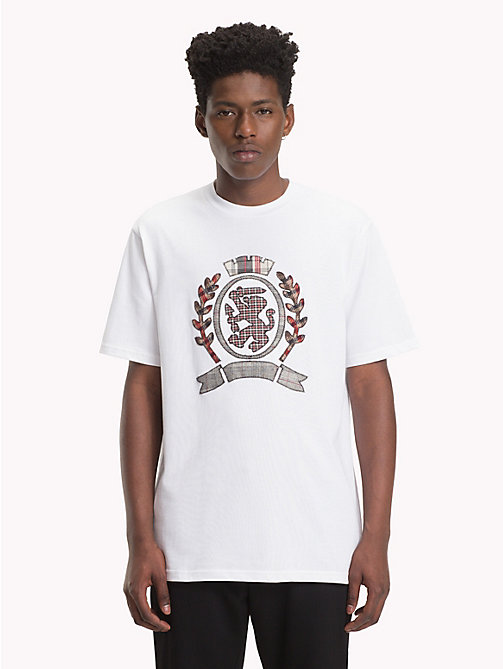 HILFIGER COLLECTION T-shirt con stemma applique a quadri - BRIGHT WHITE - HILFIGER COLLECTION TOMMY NOW UOMO - immagine principale