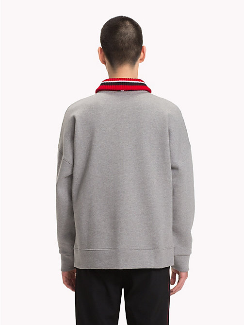 HILFIGER COLLECTION Stripe Collar Fleece Sweatshirt - SILVER FOG HEATHER -  TOMMY NOW MEN - detail image 1