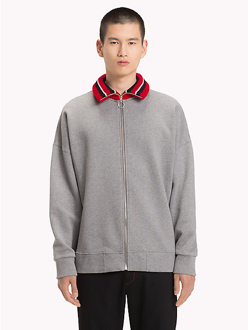 HILFIGER COLLECTION Stripe Collar Fleece Sweatshirt - SILVER FOG HEATHER - HILFIGER COLLECTION TOMMY NOW MEN - main image