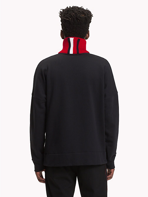 HILFIGER COLLECTION Stripe Collar Fleece Sweatshirt - JET BLACK - HILFIGER COLLECTION TOMMY NOW MEN - detail image 1