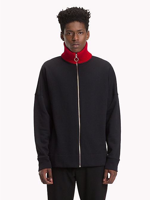 HILFIGER COLLECTION Stripe Collar Fleece Sweatshirt - JET BLACK - HILFIGER COLLECTION TOMMY NOW MEN - main image