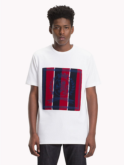 HILFIGER COLLECTION T-shirt met gestreept embleem - BRIGHT WHITE - HILFIGER COLLECTION TOMMY NOW HEREN - main image