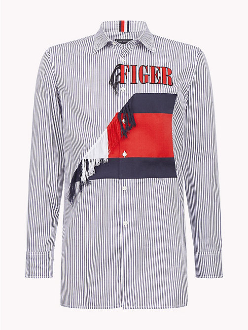 HILFIGER COLLECTION Asymmetric Frayed Crest Shirt - SKY CAPTAIN / BRIGHT WHITE / MULTI -  TOMMY NOW MEN - detail image 1