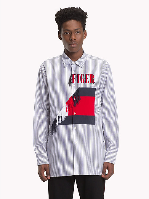 HILFIGER COLLECTION Asymmetric Frayed Crest Shirt - SKY CAPTAIN / BRIGHT WHITE / MULTI -  TOMMY NOW MEN - main image