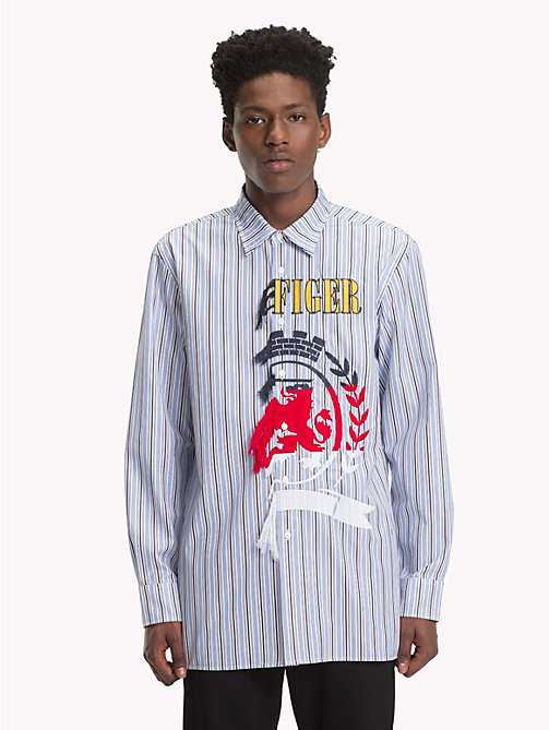 HILFIGER COLLECTION Asymmetric Frayed Crest Shirt - REGATTA / SKY CAPTAIN / MULTI - HILFIGER COLLECTION TOMMY NOW MEN - main image