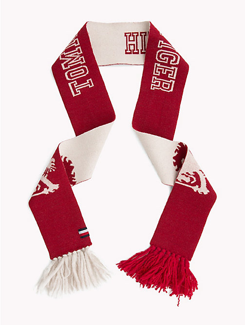 TOMMY HILFIGER Reversible Logo Scarf - RED/ WHITE - TOMMY HILFIGER TOMMY NOW MEN - detail image 1