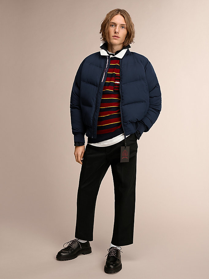 blue recycled down matte bomber jacket for men hilfiger collection