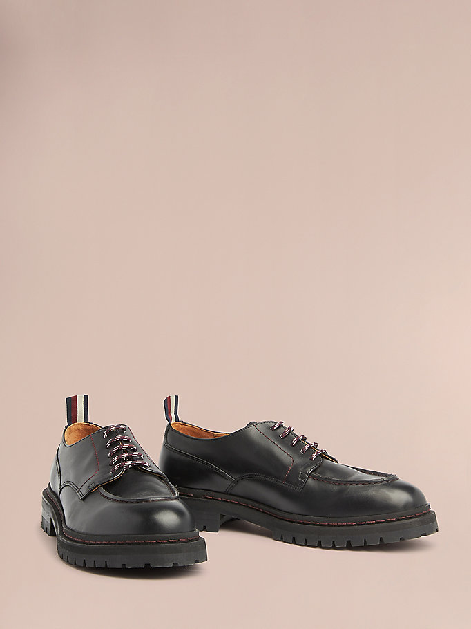 black cleated sole lace-up shoes for men hilfiger collection