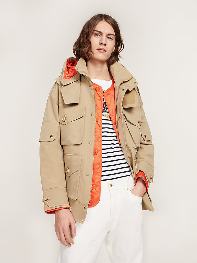 khaki modular field jacket for men hilfiger collection