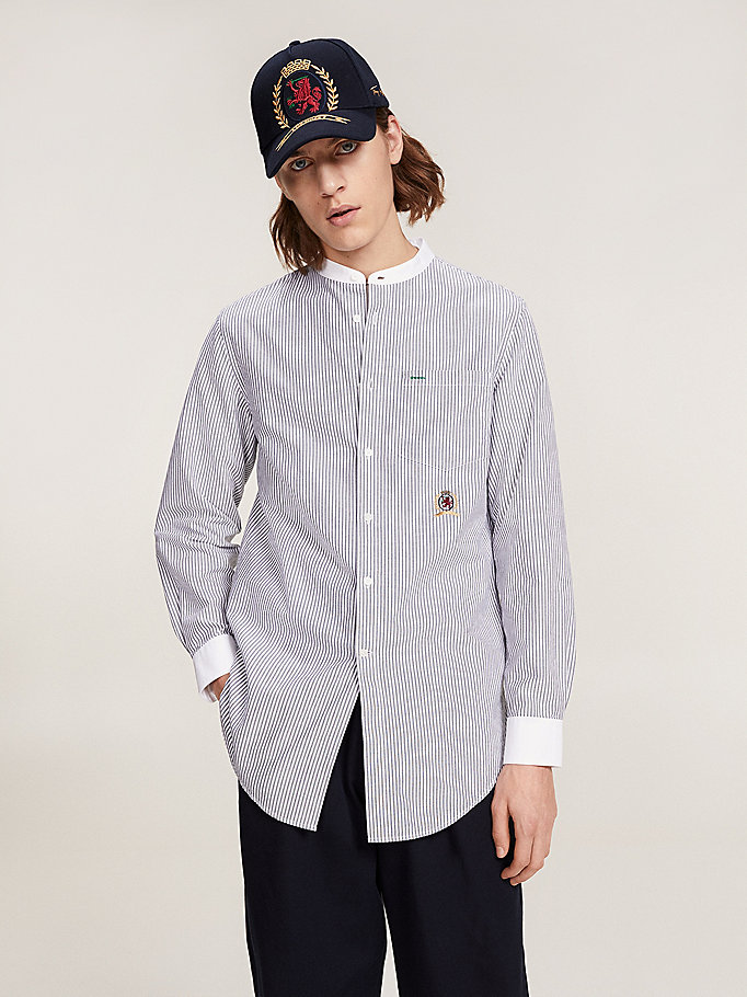 blue tommy.com exclusive collarless shirt for men hilfiger collection
