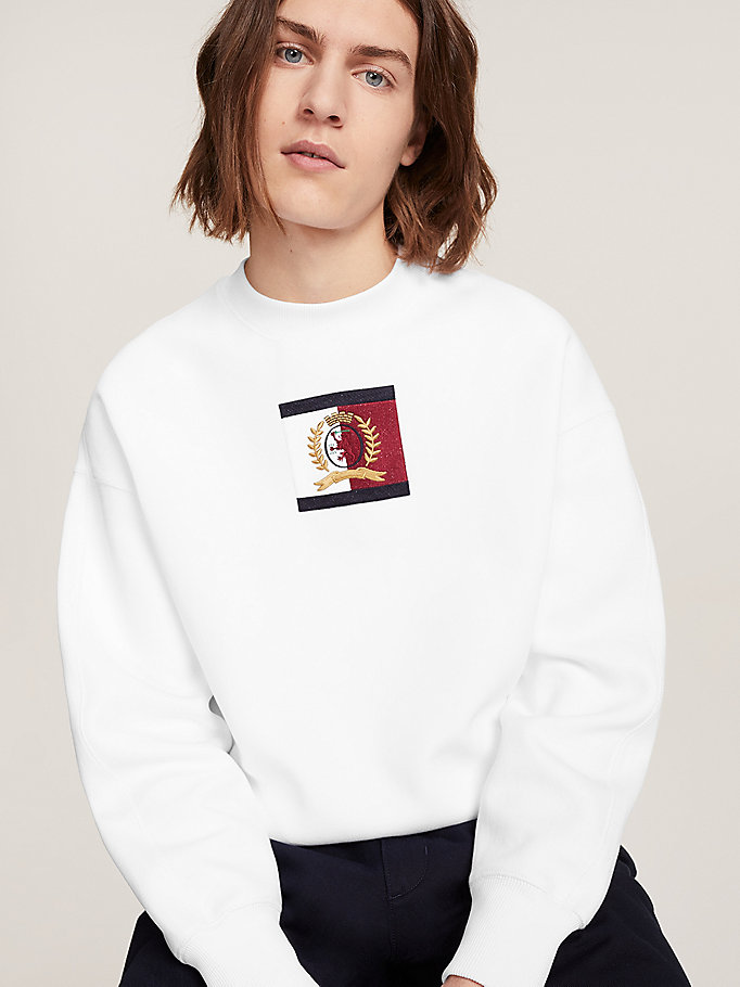 white crest relaxed fit sweatshirt for men hilfiger collection