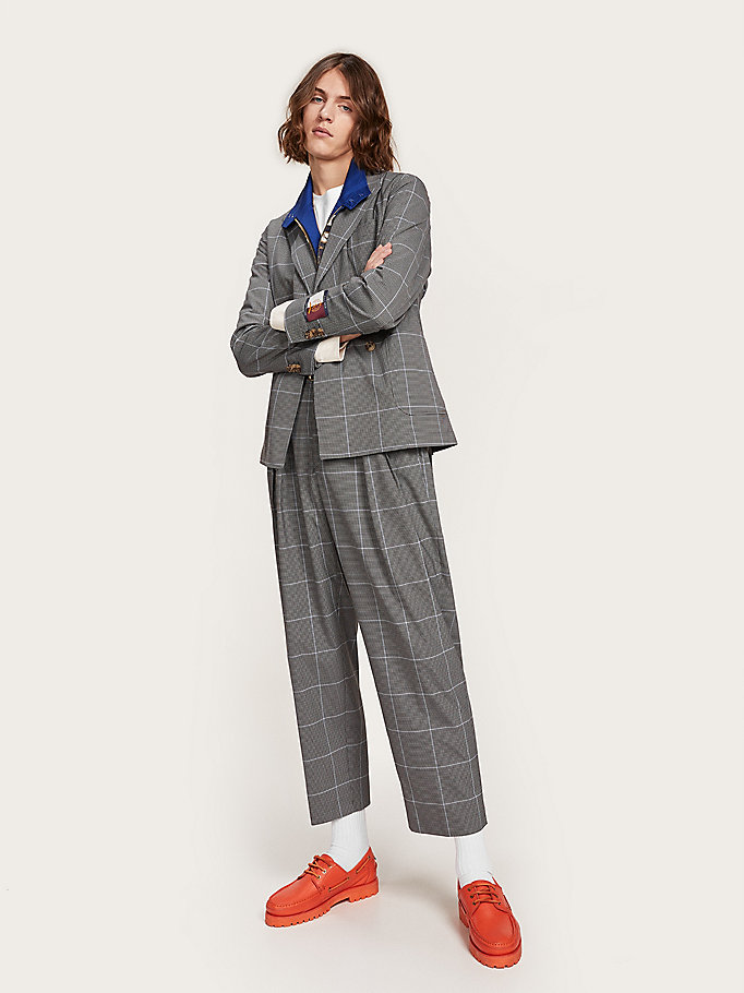 grey mixed check crest embroidery trousers for men hilfiger collection