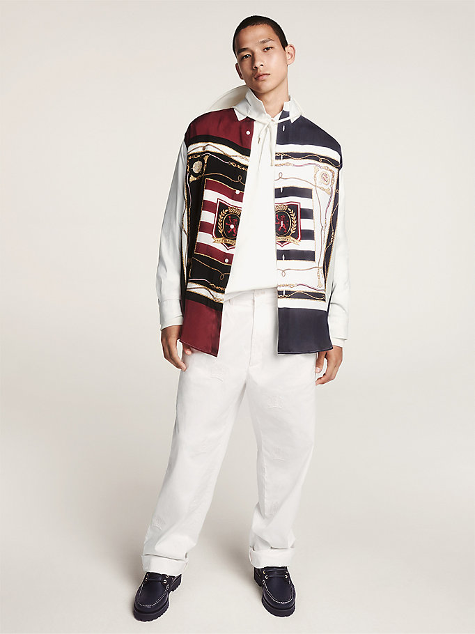 white nautical print crest embroidery shirt for men hilfiger collection