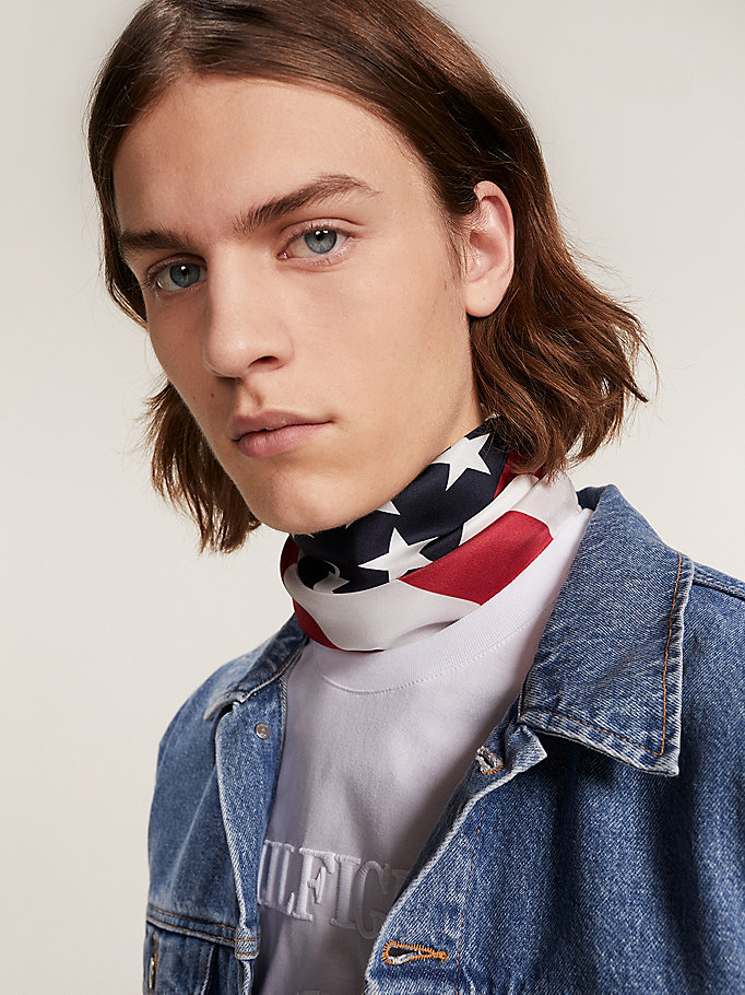 blue silk stars and stripes print bandana for men hilfiger collection
