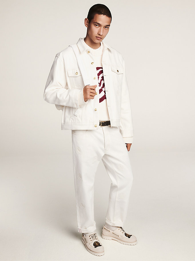 white crest embroidery denim jacket for men hilfiger collection