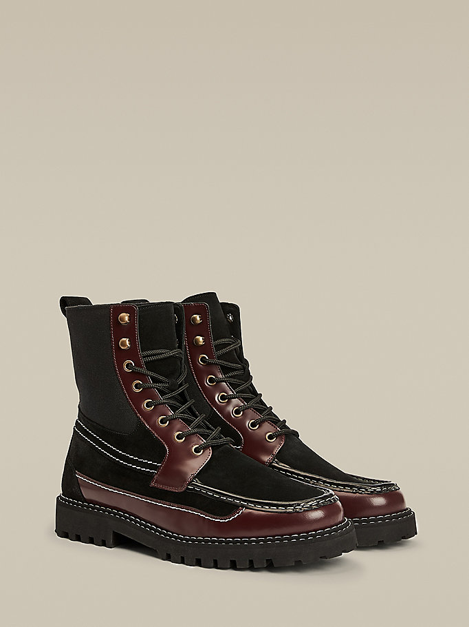 black lace-up boat boots for men hilfiger collection